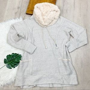 Maurices Knit Faux Fur Cowlneck Pullover Sweater